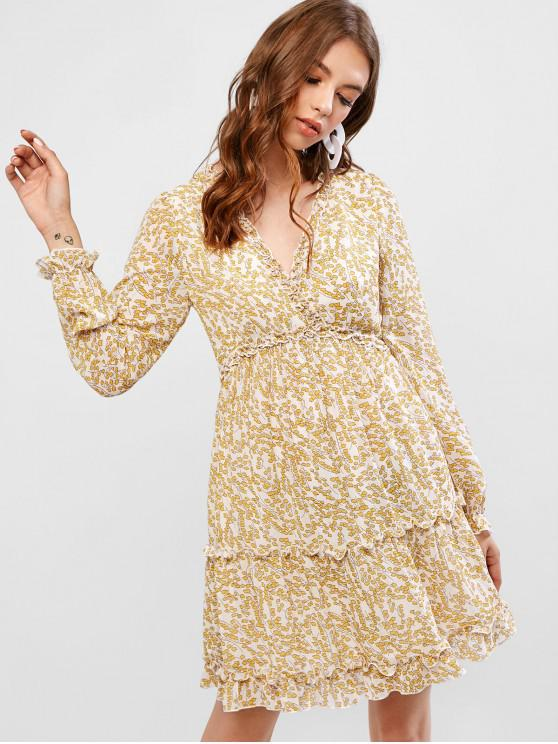 unique ZAFUL Ditsy Print Surplice Frilled Long Sleeve Dress - BEIGE M