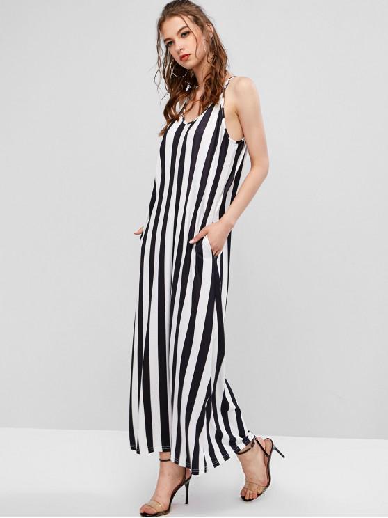 women Two Tone Striped Maxi Cami Dress - BLACK S