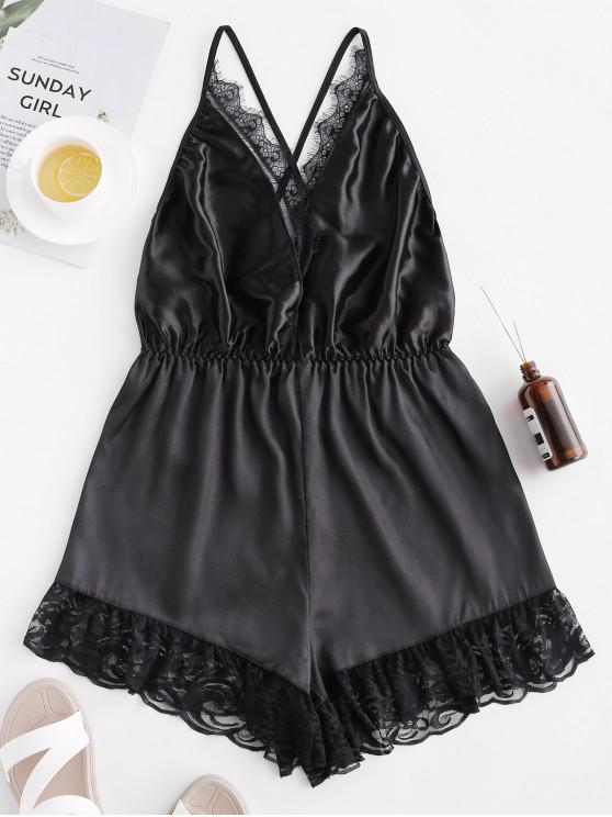 sale Plunging Neck Open Back Eyelash Lace Insert Playsuit - BLACK M