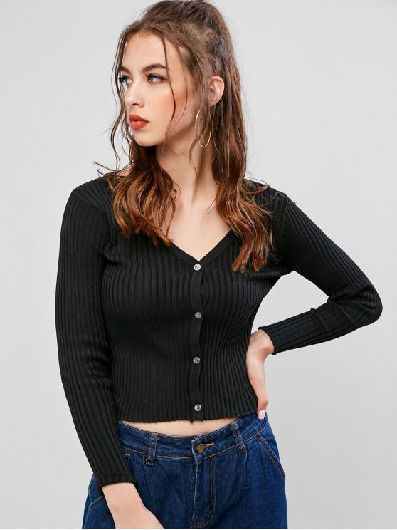 outfits Ribbed Button Up Knit Cardigan - BLACK ONE SIZE