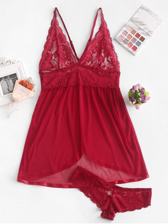 affordable Lace Insert Sheer Open Back Back Slit Babydoll - RED WINE L