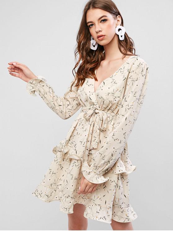 shop ZAFUL Frilled Tiny Floral Mini Surplice Dress - BEIGE S