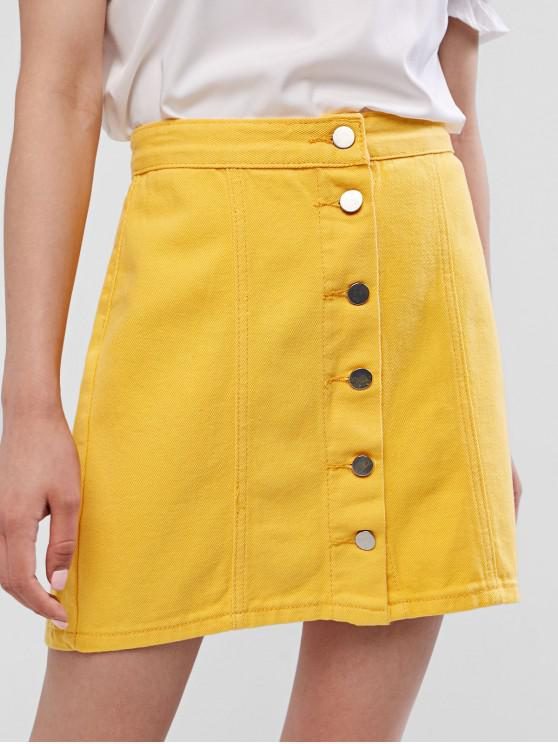 lady High Rise Button Fly Denim Mini Skirt - BEE YELLOW S