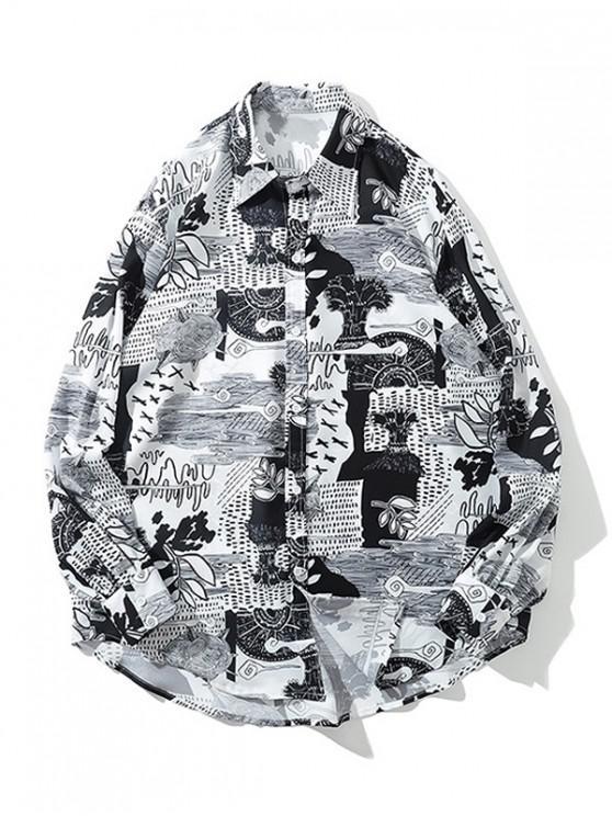 fancy Huge Sea Wave Leaf Print High Low Long Sleeve Shirt - WHITE M