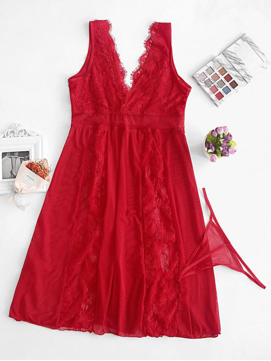 women Lace and Mesh Sheer Nightdress - RED S