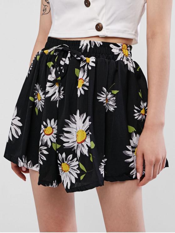 chic High Waisted Floral Wide Leg Shorts - BLACK XL