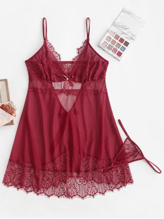 women Eyelash Lace Insert Bow Backless Sheer Babydoll - RED WINE S