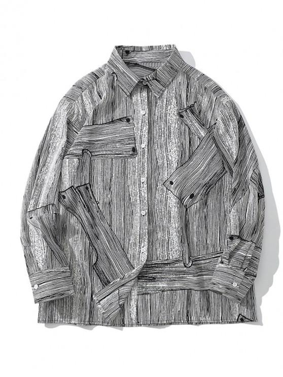 lady Wood Grain Print Casual Button Up Shirt - GRAY L