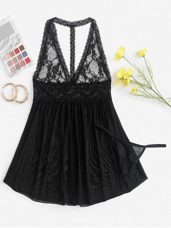 sale Lace Insert Open Back See Through Babydoll - BLACK M