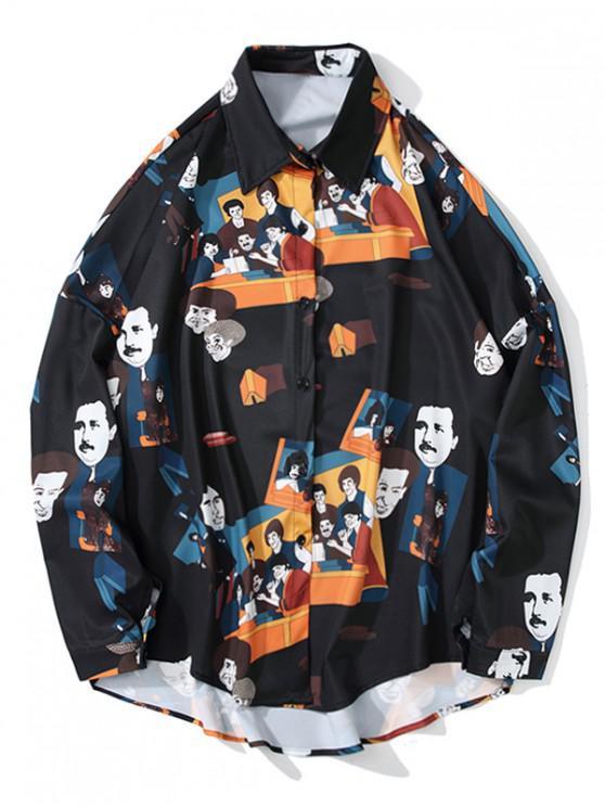 buy Cartoon Character Print High Low Drop Shoulder Shirt - BLACK 2XL