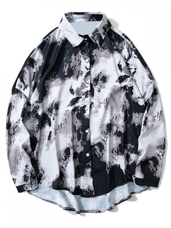 women Tie Dye High Low Drop Shoulder Button Shirt - WHITE L