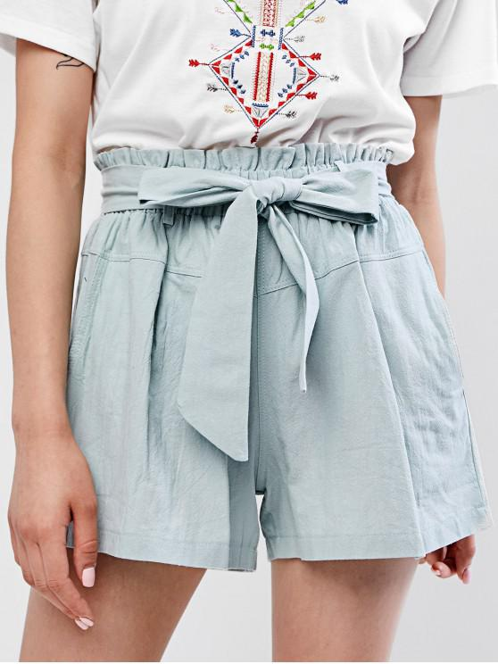 buy Solid Belted Wide Leg Paperbag Shorts - PALE BLUE LILY M