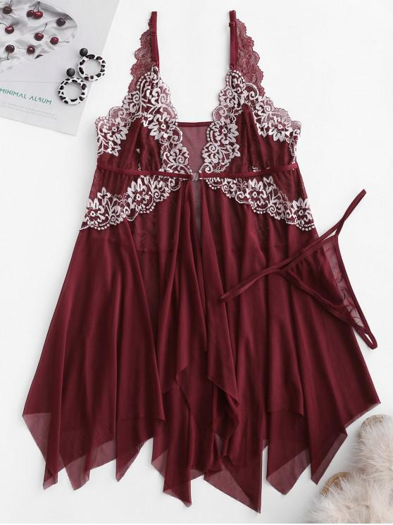 outfits Floral Lace Handkerchief Front Closure Babydoll Set - FIREBRICK S