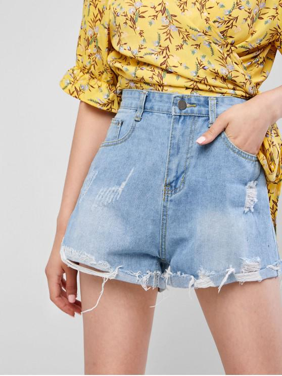 Cuff Hem Strappato Pocket Denim Shorts - Blu Scura Denim  L