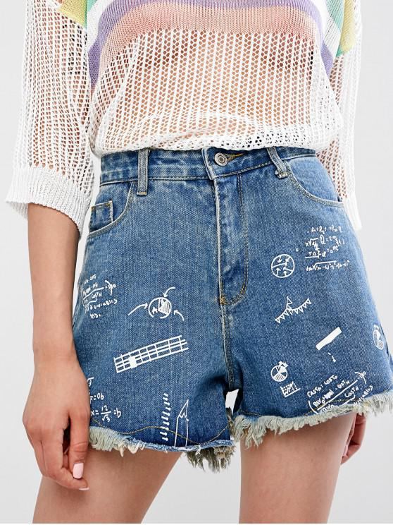 chic Zipper Fly Frayed Hem Graphic Denim Shorts - DENIM DARK BLUE L