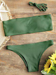 Ribbed Texture Bandeau Bikini Set - Green S