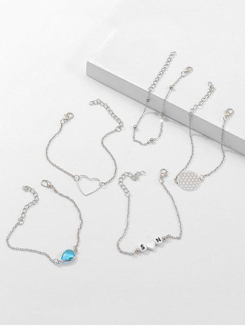 Ensembles de bracelet à lettre avec cœur creux et 5 pièces rondes - Argent  Mobile
