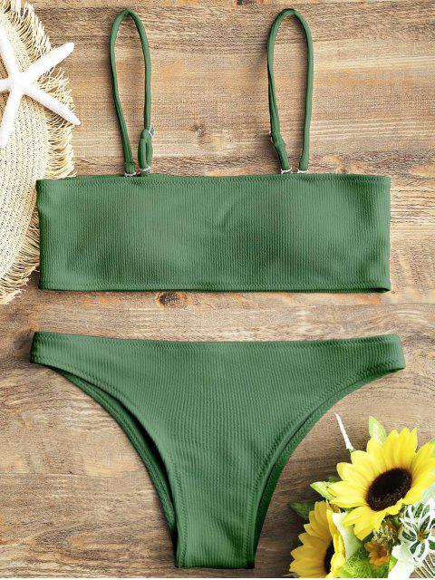 Juego de Bikini Bandeau de textura acanalada - Verde S Mobile
