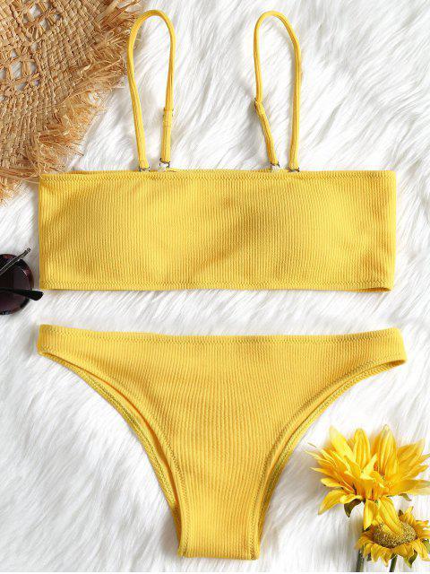 hot Ribbed Texture Bandeau Bikini Set - YELLOW L Mobile