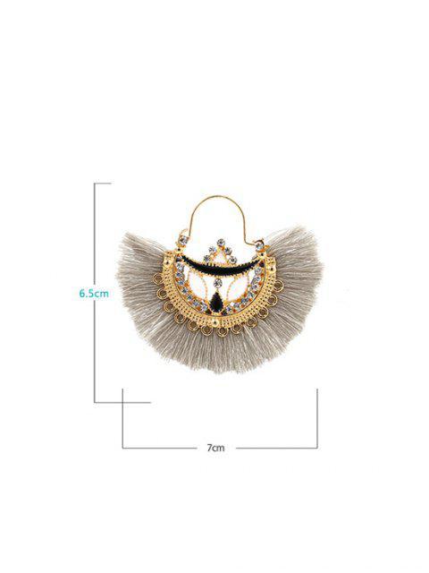 Boucles d'Oreilles Ethniques Pendantes Evidées en Forme d'Eventail à Franges - Gris  Mobile