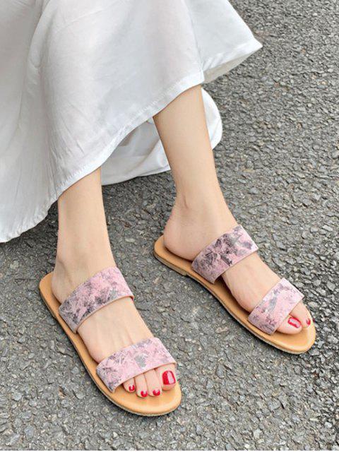 Sandales Motif de Marbrure à Deux Brides - Rose Léger  EU 35 Mobile