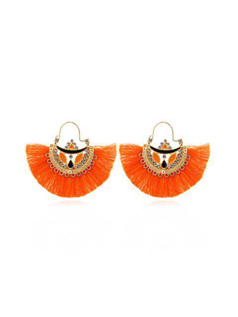 Boucles d'Oreilles Ethniques Pendantes Evidées en Forme d'Eventail à Franges - Orange  Mobile