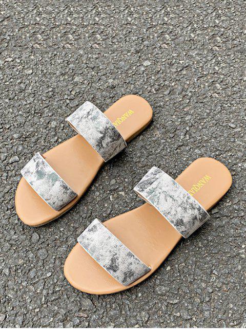 Sandales Motif de Marbrure à Deux Brides - Blanc EU 41 Mobile