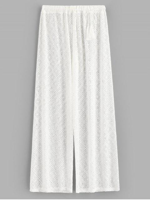 Прозрачные Кружевные Брюки-клеш - Белый XL Mobile