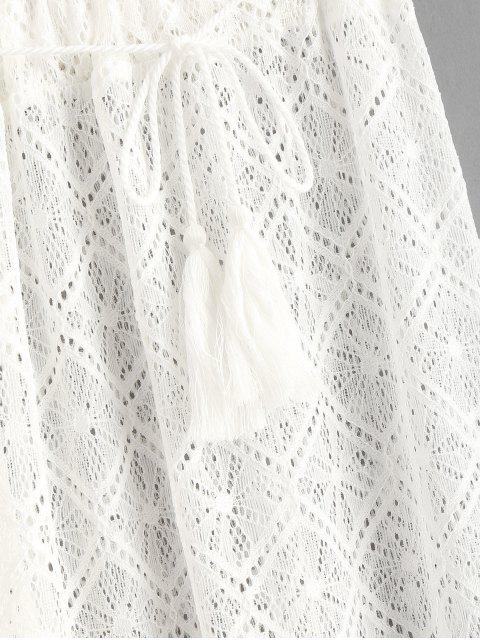 sale Sheer Lace Wide Leg Beach Pants - WHITE M Mobile