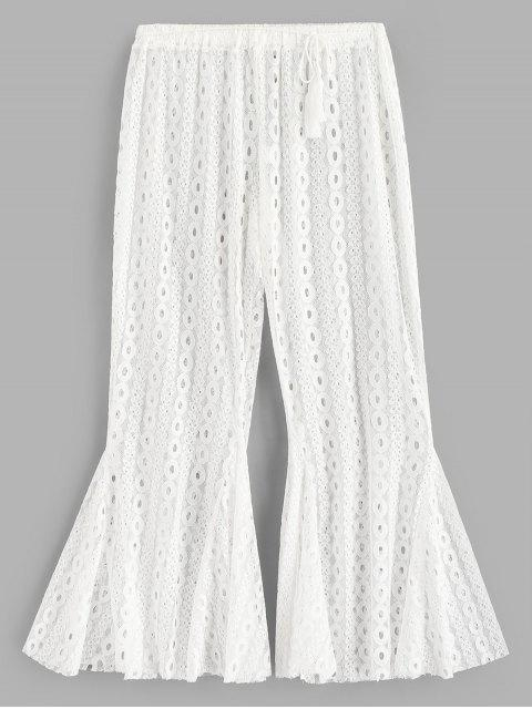 Pantalon de Plage Evasé en Dentelle Transparente - Blanc L Mobile