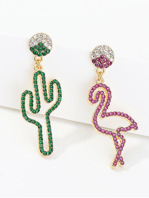 Boucles d'Oreilles Créatif Asymétrique Cactus Flamant avec Strass - Multi  Mobile