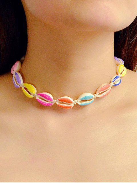 trendy Cowrie Shell Rope Choker Necklace - MULTI  Mobile