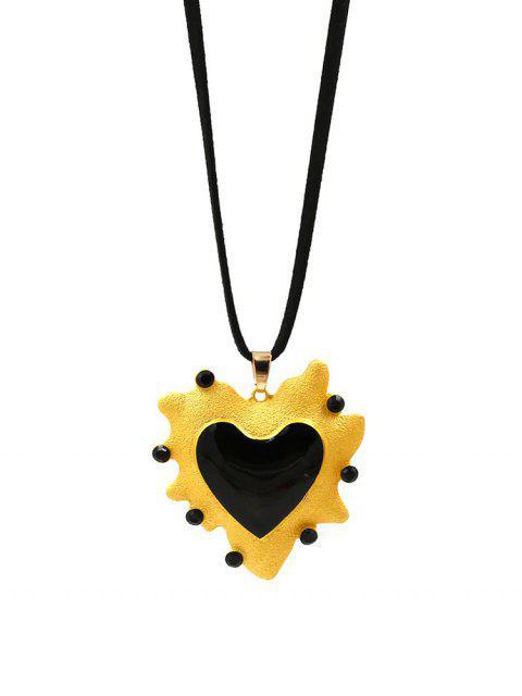 Collier de Pull Simple Cœur Pendant - Noir  Mobile