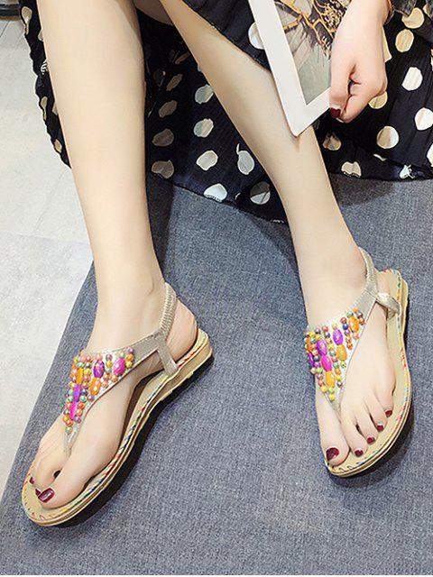 Sandales de Plage Elastiques Perlées Plates - Or EU 39 Mobile
