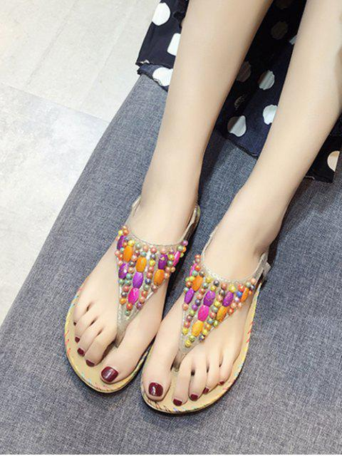 Sandales de Plage Elastiques Perlées Plates - Or EU 40 Mobile