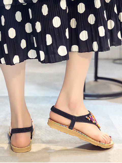 Sandales de Plage Elastiques Perlées Plates - Noir EU 38 Mobile
