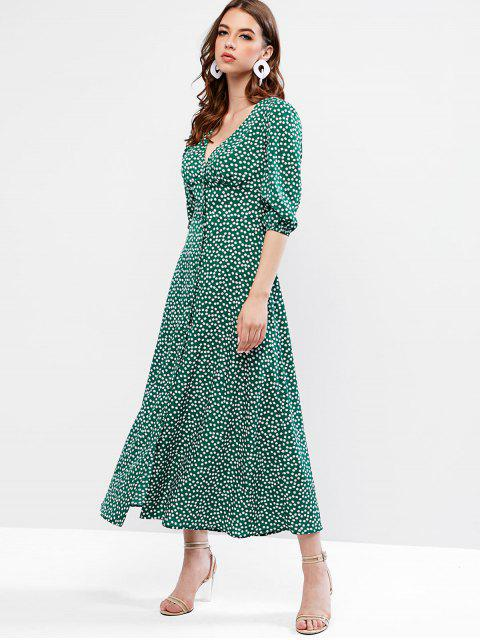 chic ZAFUL Buttoned Tiny Floral Maxi Flare Dress - SEA GREEN M Mobile