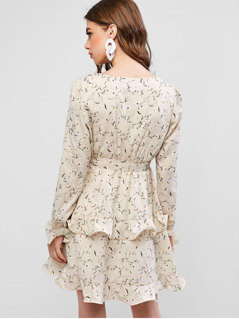 outfit ZAFUL Frilled Tiny Floral Mini Surplice Dress - BEIGE L Mobile