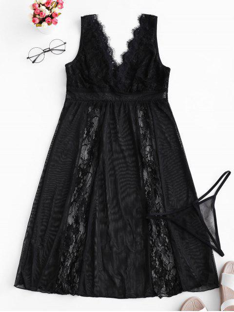蕾絲和網眼透視睡衣 - 黑色 L Mobile
