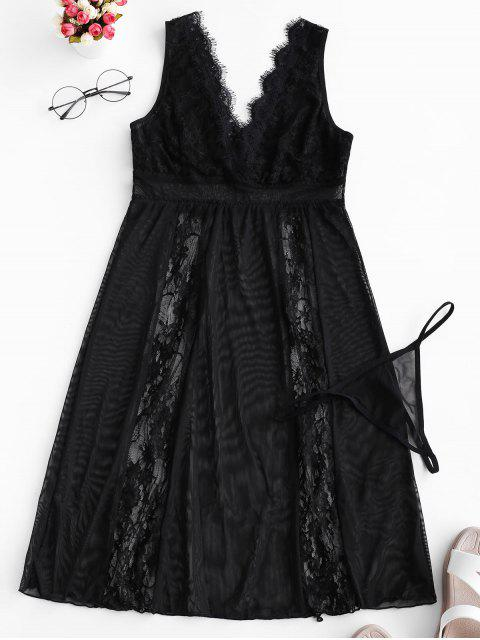 affordable Lace and Mesh Sheer Nightdress - BLACK L Mobile