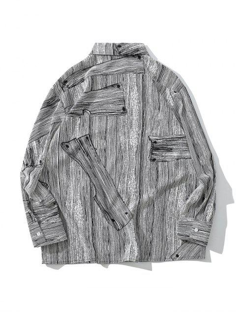 Camisa casual con botones y estampado de grano de madera - Gris M Mobile