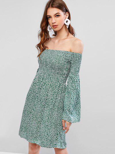 ZAFUL Smocked Ditsy Floral Off Shoulder Mini Dress