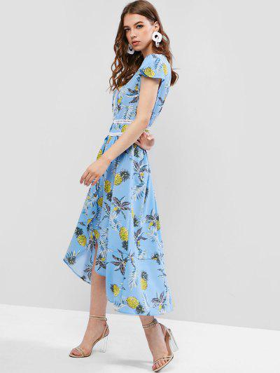 10cc1e3e2 ... Pineapple Print Ladder Trims Button Front Midi Dress - Blue Ivy S