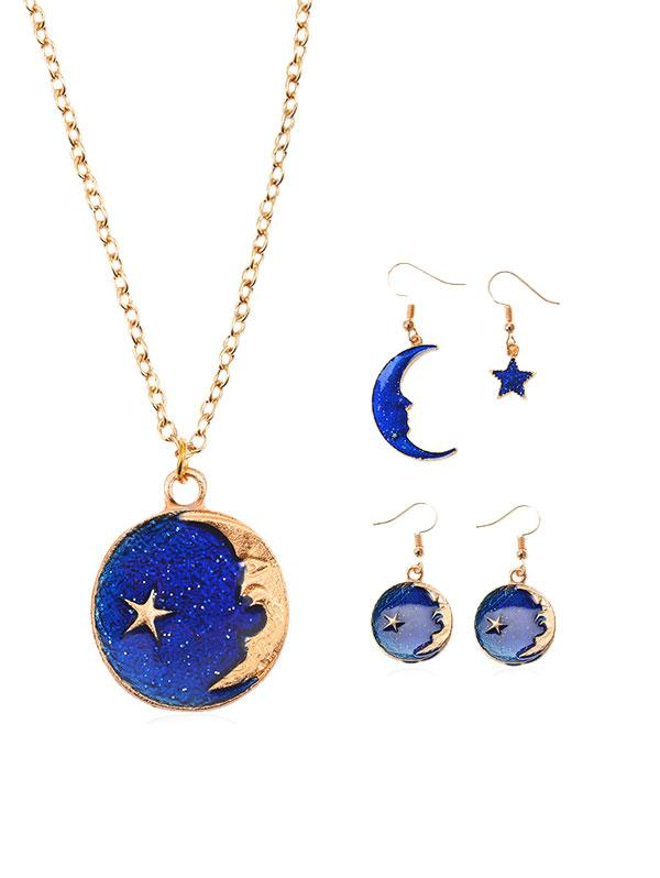 Moon and Star Necklace Asymmetric Earrings Set, Gold