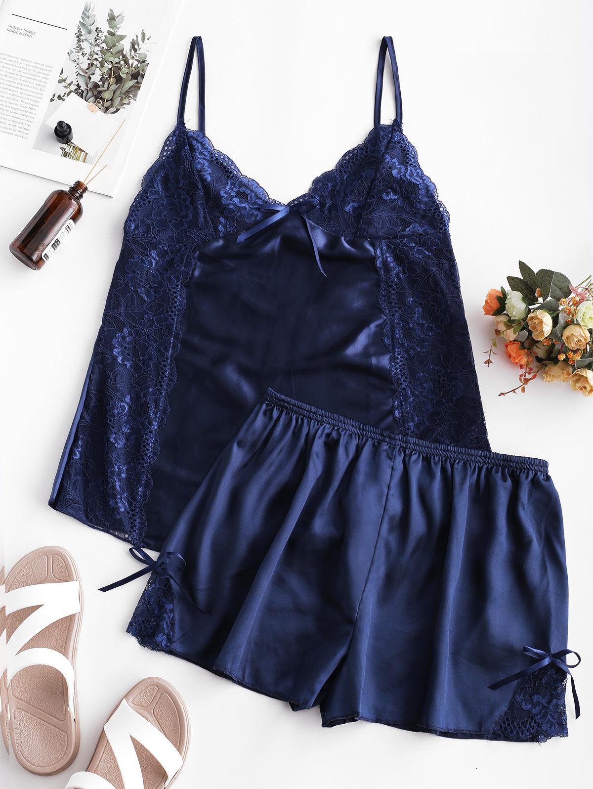 Lace and Satin Short Pajama Set фото