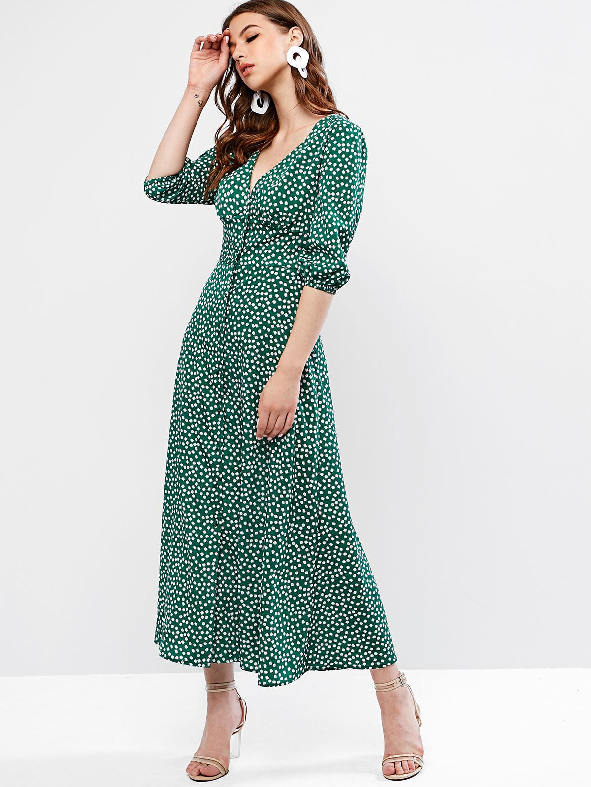 ZAFUL Buttoned Tiny Floral Maxi Flare Dress фото