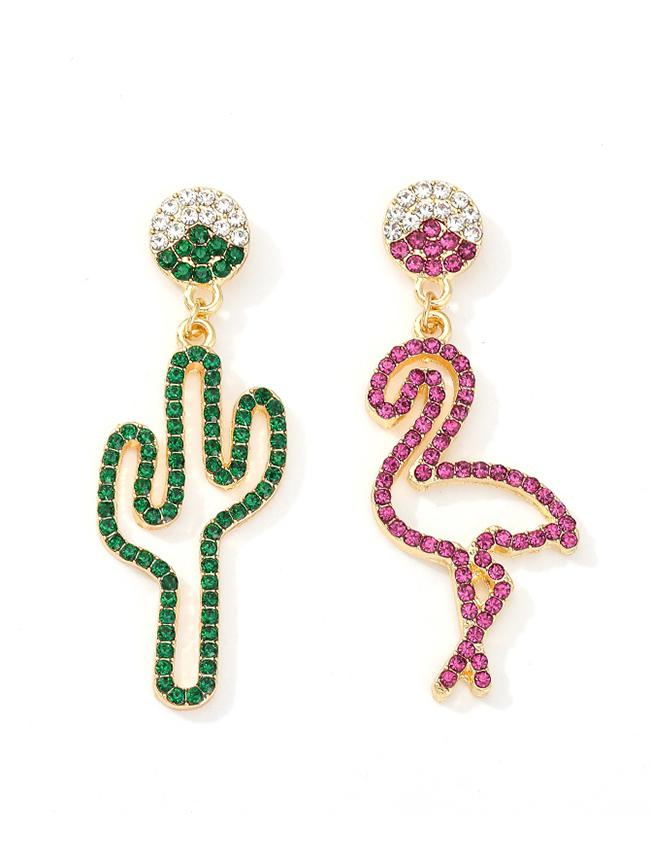 Creative Asymmetric Full Rhinestone Cactus Flamingo Earrings, Multi