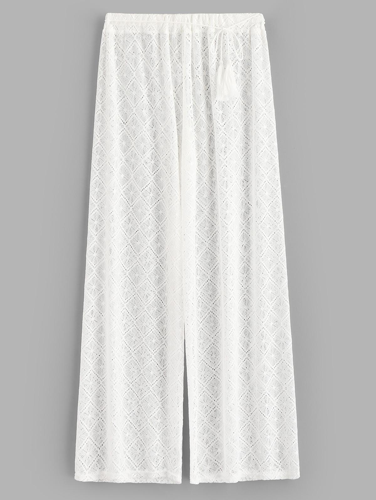 Sheer Lace Wide Leg Beach Pants thumbnail