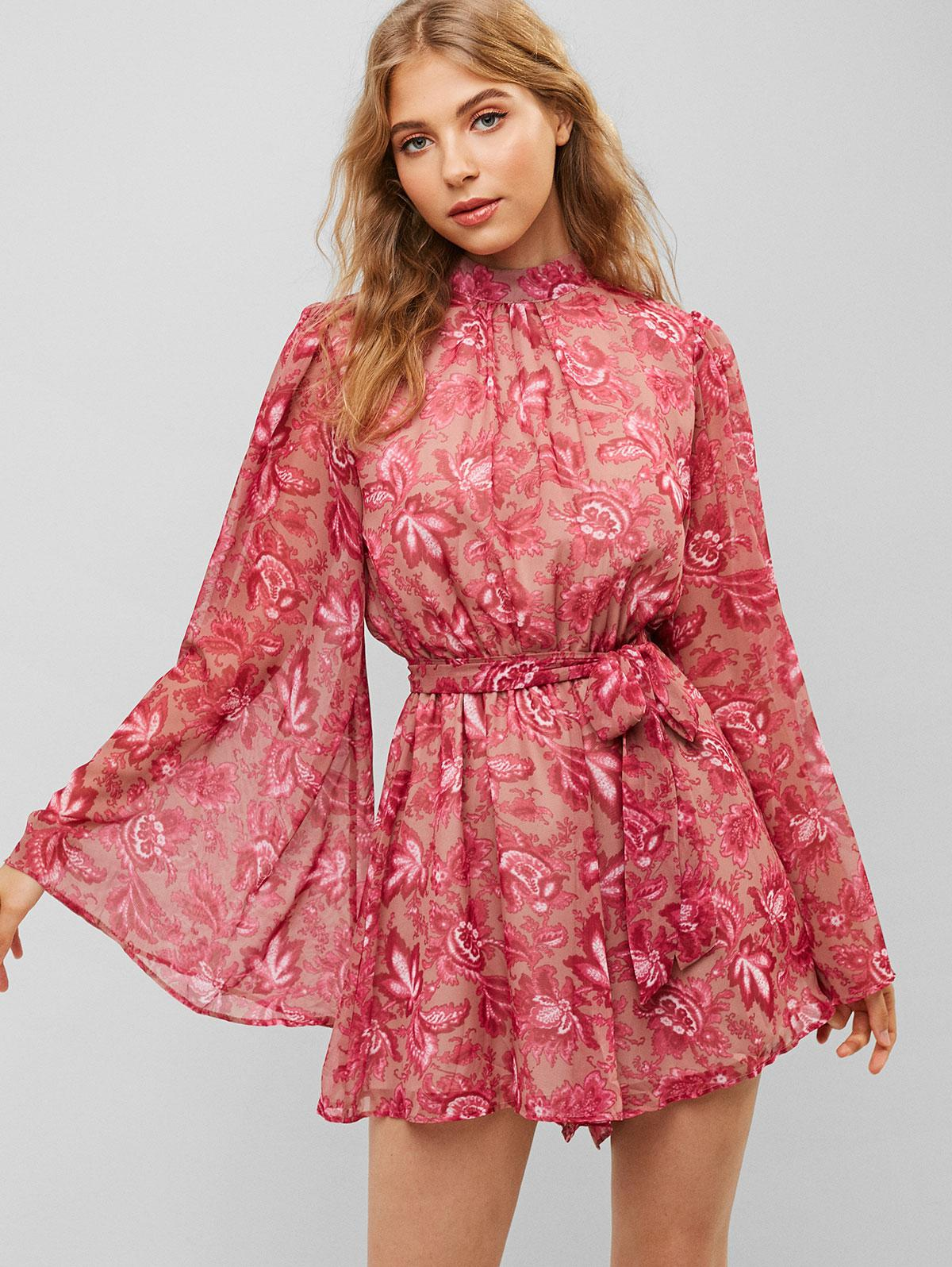 Flower Print Cut Out Wide Sleeve Belted Romper фото