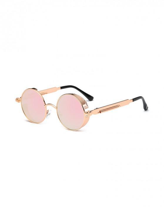 unique Retro Round Metal Frame Sunglasses - PIG PINK